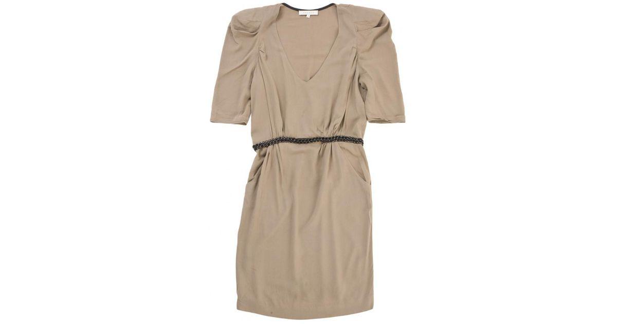 e2fb5a407588 Sandro Brown Viscose Dress in Brown - Lyst