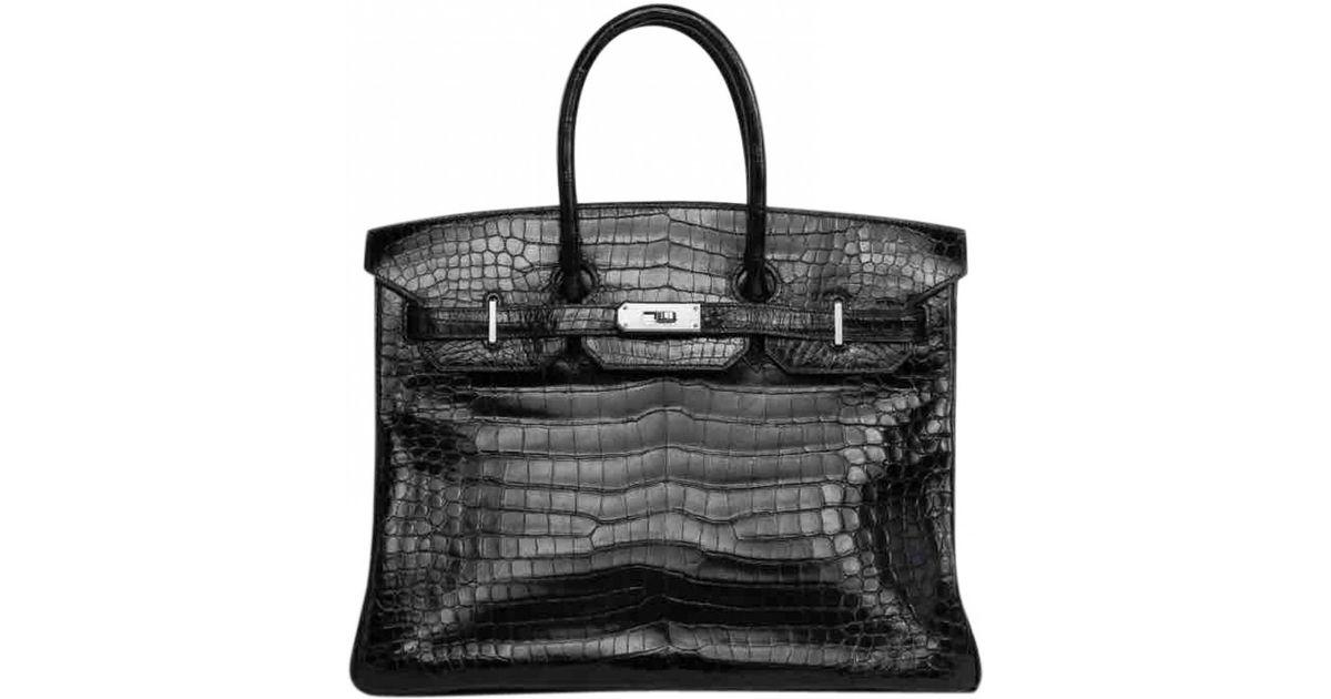 ade9e4fb28c3c Hermès Birkin 35 Crocodile Handbag in Black - Lyst