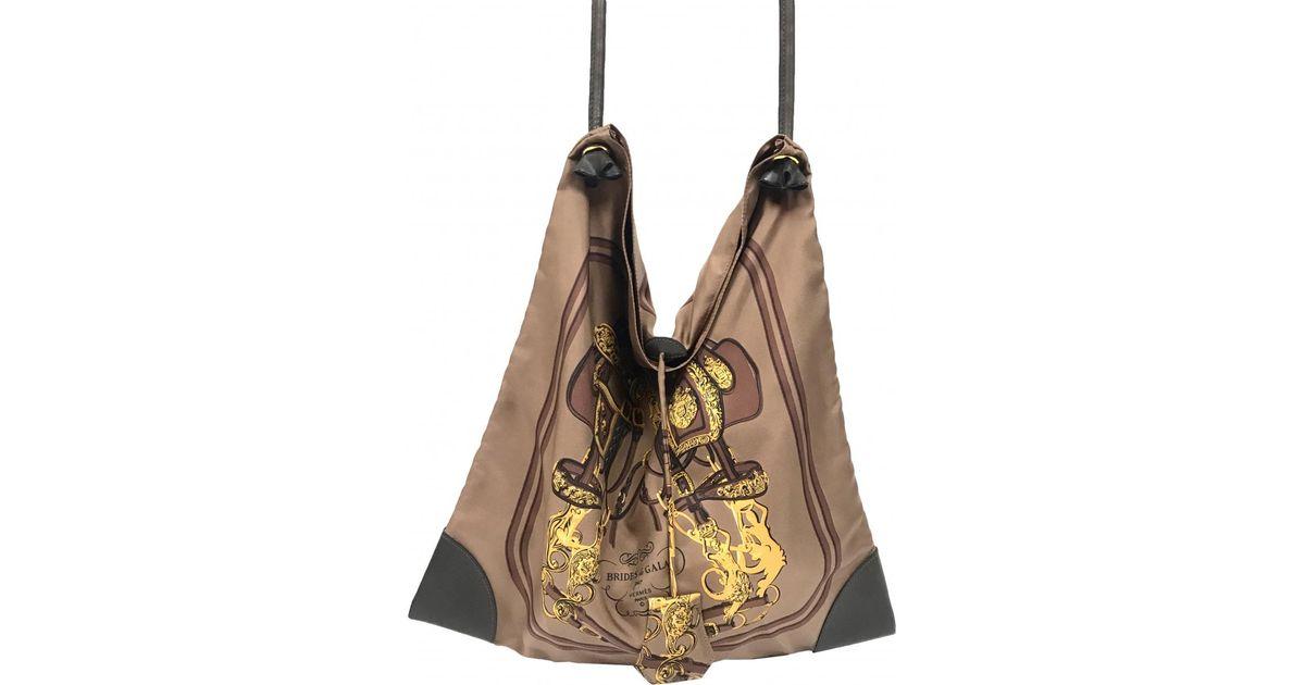 5aeb8cb45cb4 Lyst - Hermès Silk City Silk Handbag in Brown