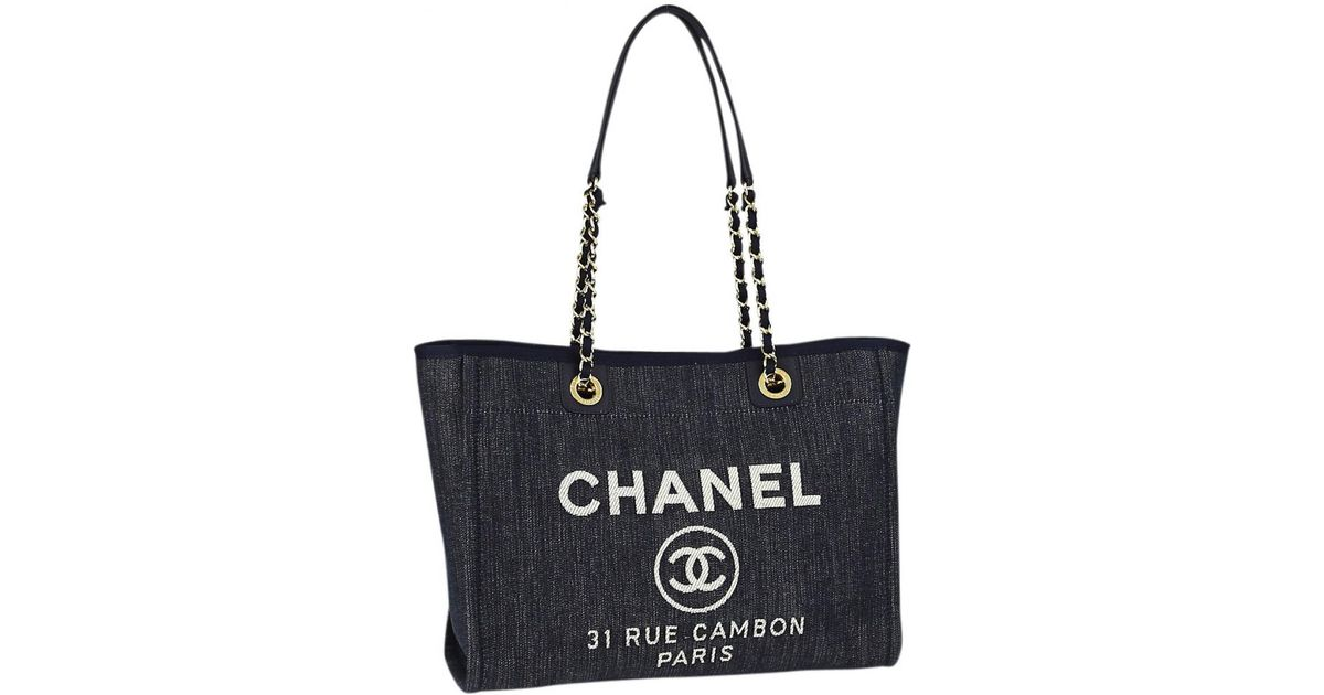 Lyst - Chanel Pre-owned Deauville Tote in Blue 277422d26b8a6
