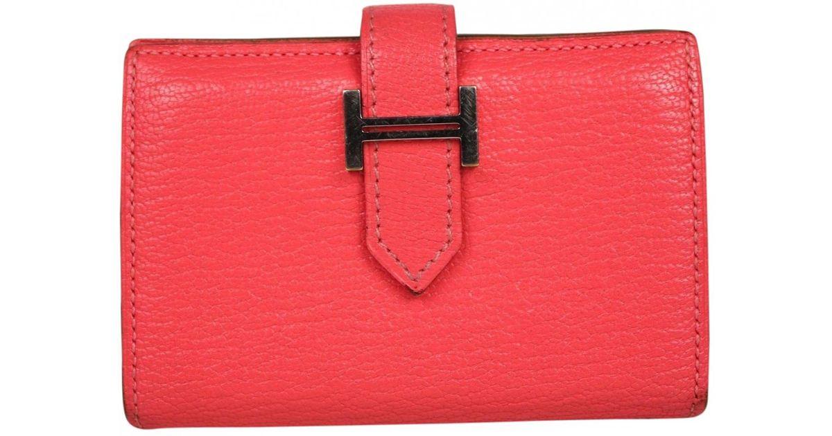 85de3b31f1 Lyst - Hermès Béarn Red Leather Wallets in Red