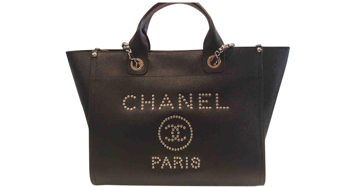9d60b89f5411 Lyst - Chanel Deauville Leather Tote in Black