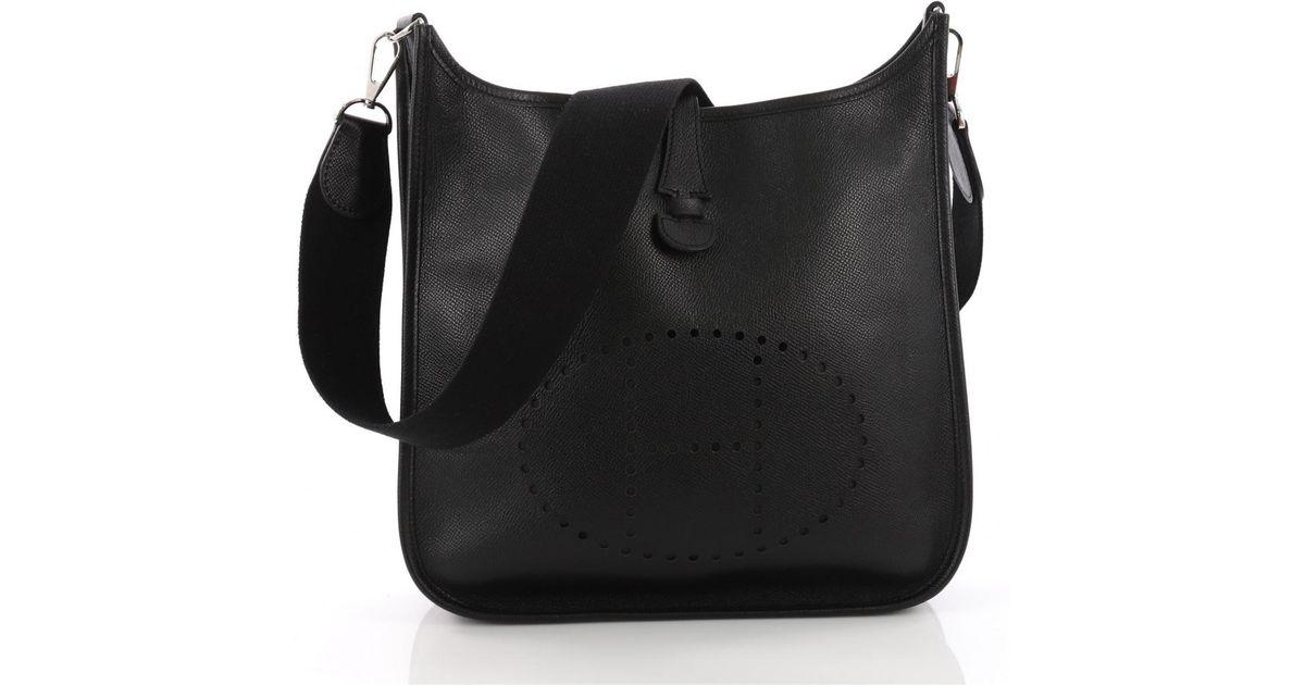 Lyst - Hermès Evelyne Black Leather Handbag in Black 068cb39c13dd