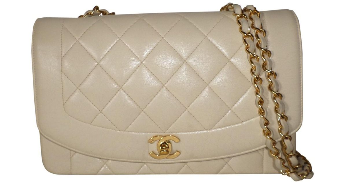 332be18c6728 Chanel Pre-owned Diana Leather Crossbody Bag in White - Lyst