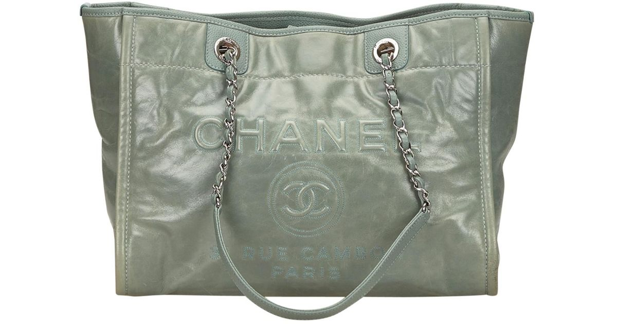 0d4efe00d4fab0 Lyst - Chanel Deauville Chain Tote in Green