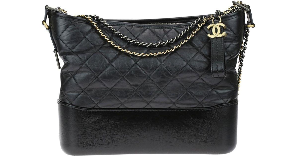 Lyst - Chanel Gabrielle Leather Handbag in Black f92f57aca474c