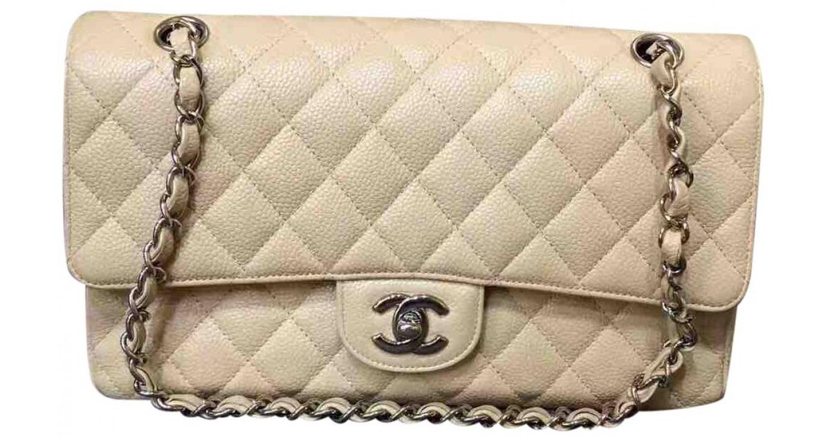 e1ed46d3a7ee Chanel Timeless Leather Handbag in Natural - Lyst
