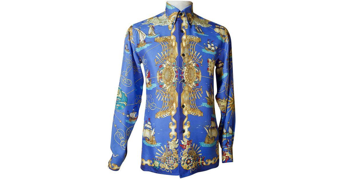 la meilleure attitude 5c250 0588f Chemise en soie Hermès pour homme en coloris Blue