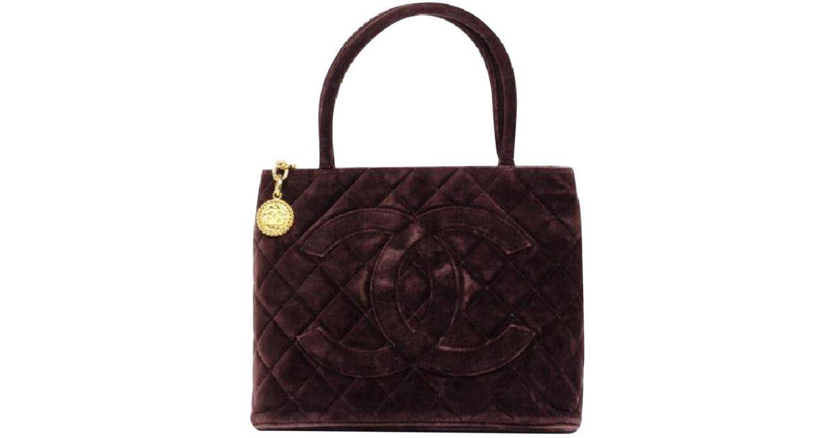 Lyst - Chanel Vintage Médaillon Brown Velvet Handbag in Brown 3a87f81fb6749