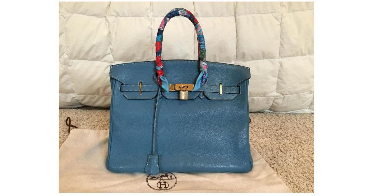 9fdc60731fdb Lyst - Hermès Birkin 35 Leather Handbag in Blue