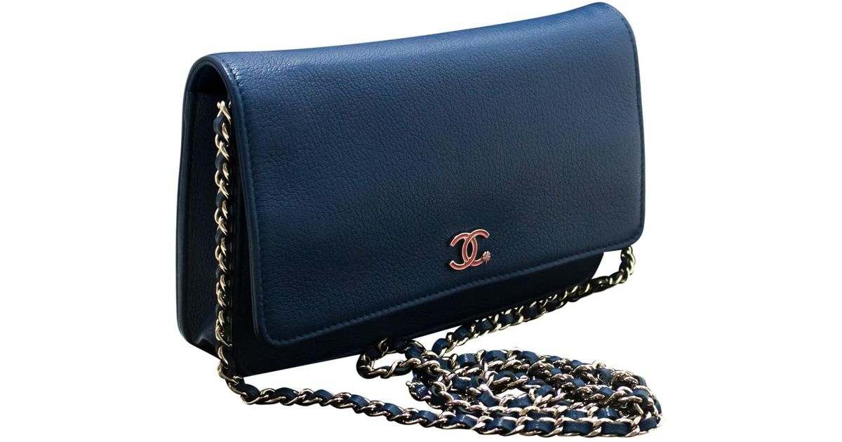 91769d6c2fdb Chanel Wallet On Chain Leather Crossbody Bag In Blue Lyst
