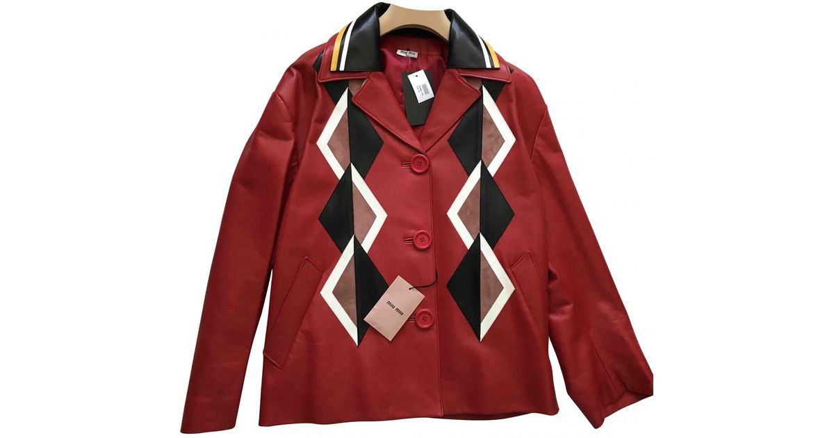 3aeab2179e7 Lyst - Miu Miu Leather Jacket in Red
