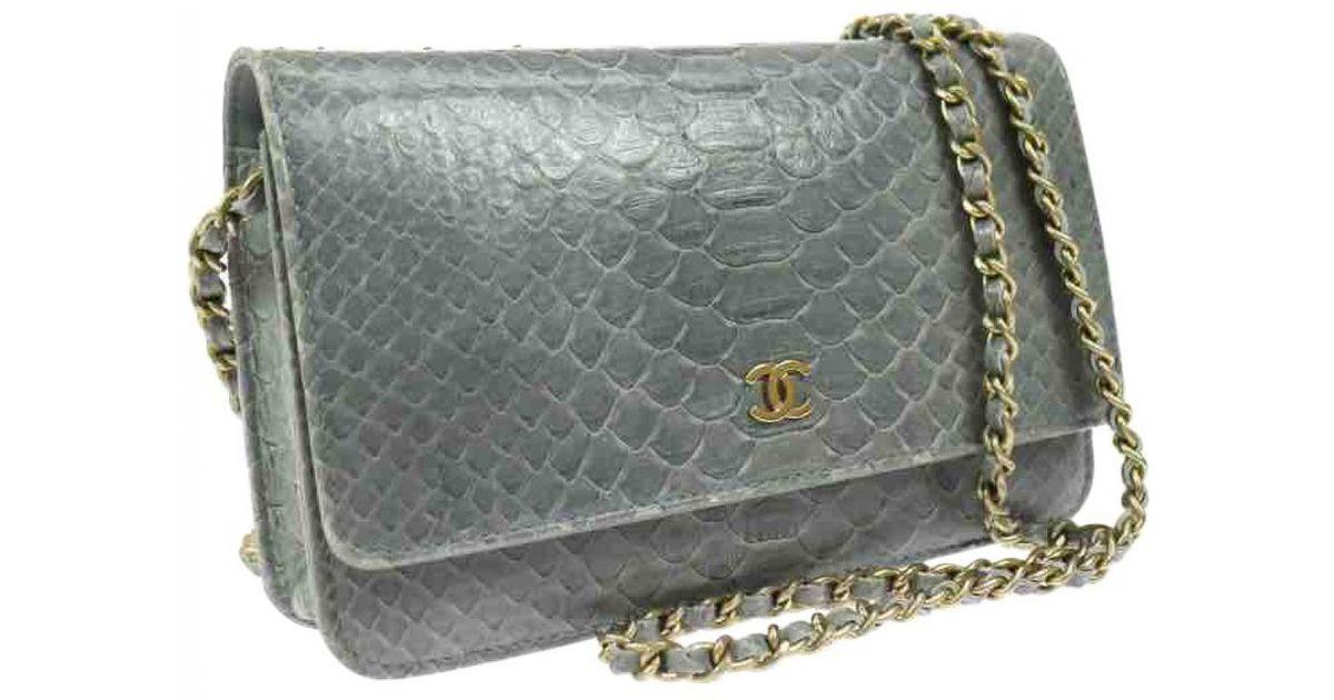 7f81de38268b Chanel Wallet On Chain Python Crossbody Bag In Blue Lyst