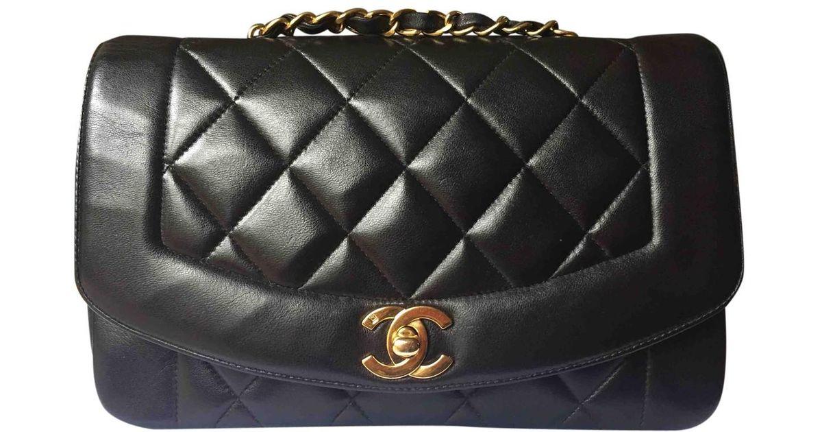 21ab9805ea92b0 Chanel Pre-owned Vintage Diana Black Leather Handbag in Black - Lyst