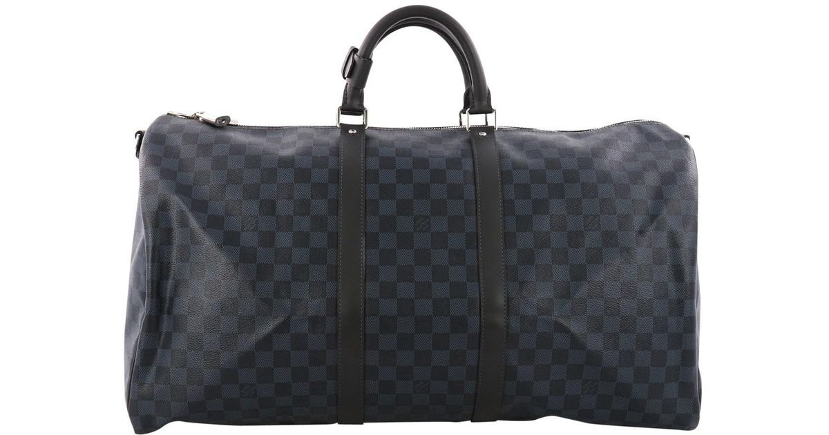 Louis Vuitton Pre-owned Keepall Cloth Travel Bag in Blue for Men - Lyst d7f78eaf5d4b7