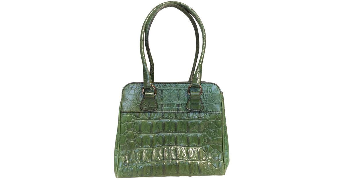 5b2b15454157 Lyst - Miu Miu Pre-owned Leather Bag in Green