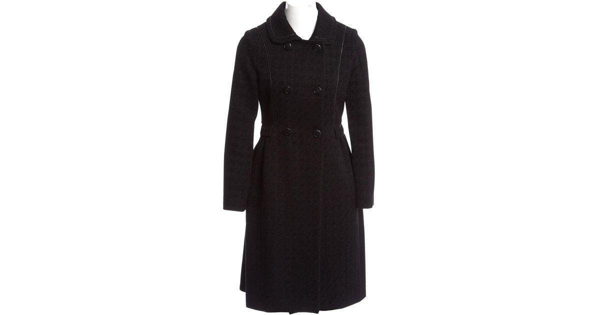 e6f144e3ee7 Bottega Veneta Black Wool Coat in Black - Lyst
