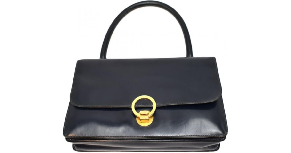 b86d3cb364036c Lyst - Hermès Vintage Ring Black Leather Handbag in Black