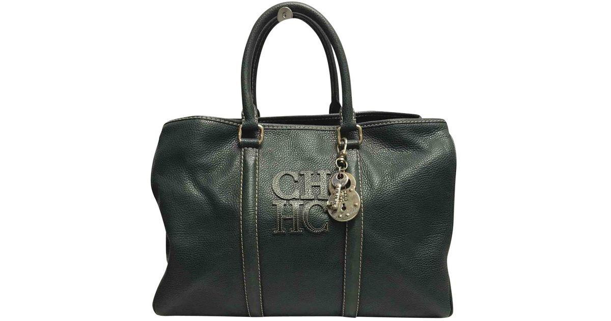 b8f2710009 Lyst - Carolina Herrera Green Leather Handbag in Green