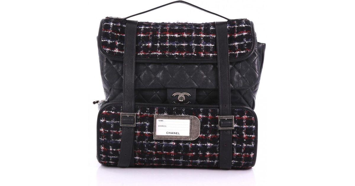 Lyst - Chanel Pre-owned Black Tweed Backpacks in Black e908fcc9c71fd