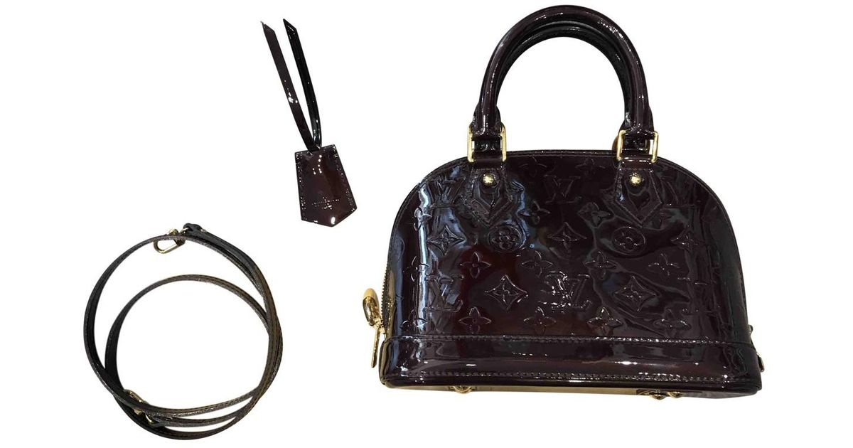 6a035a503011 Lyst - Louis Vuitton Alma Bb Patent Leather Crossbody Bag in Black