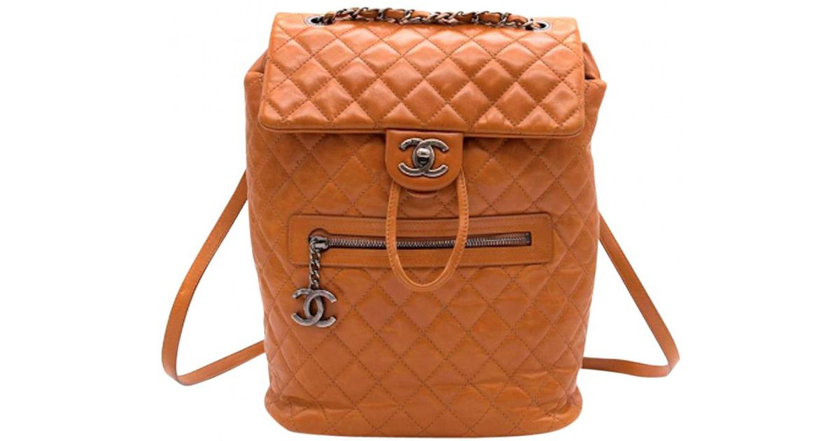 d8561c06d053 Lyst - Chanel Pre-owned Leather Backpack in Brown