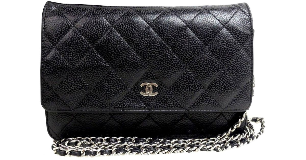 786c93d324f2 Lyst Chanel Wallet On Chain Leather Crossbody Bag In Black
