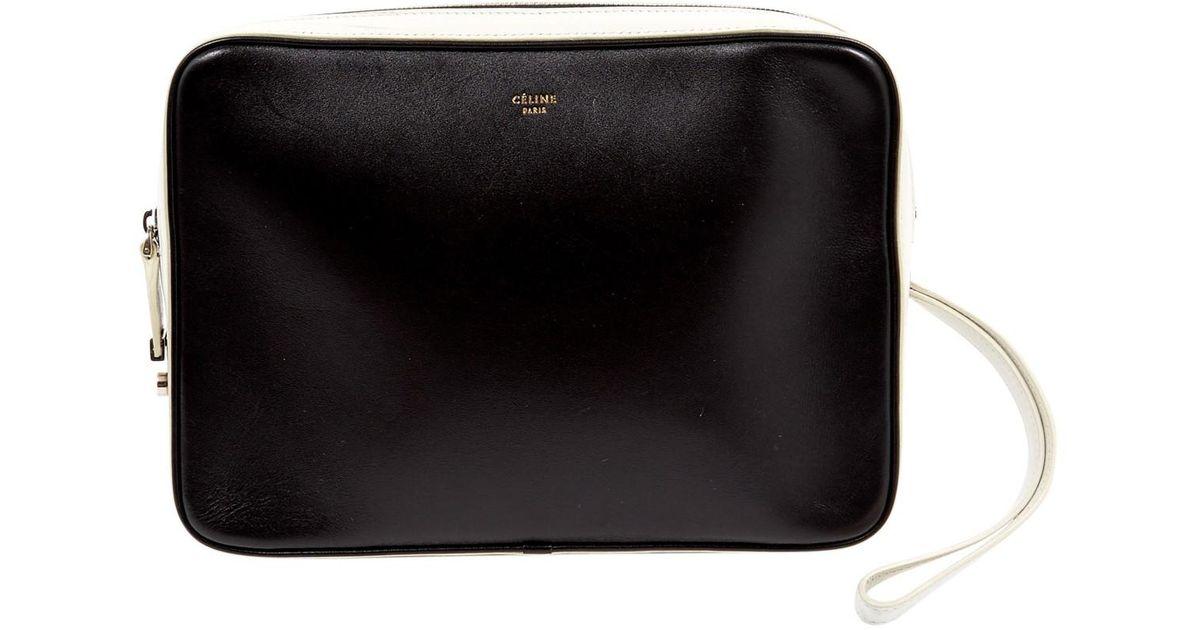 50e12130b69e Céline leather clutch bag in black lyst jpeg 1200x630 Celine clutch bag