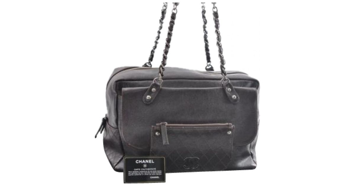 1ee65c6d7b7b Lyst - Chanel Brown Leather Handbag in Brown