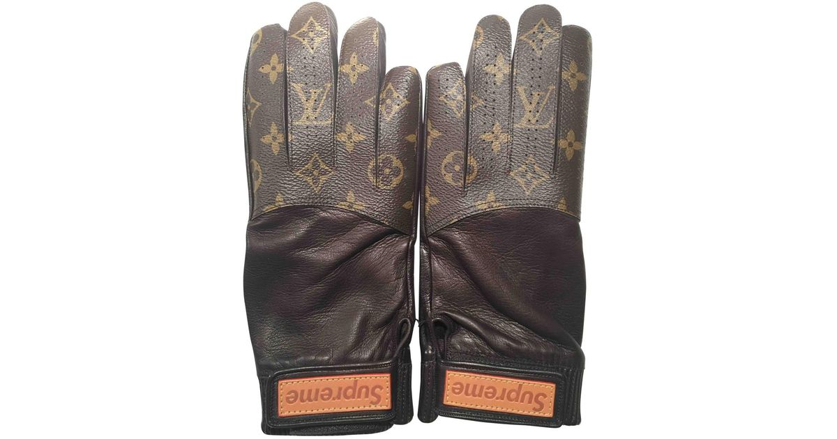 Lyst Louis Vuitton Leather Gloves In Brown For Men