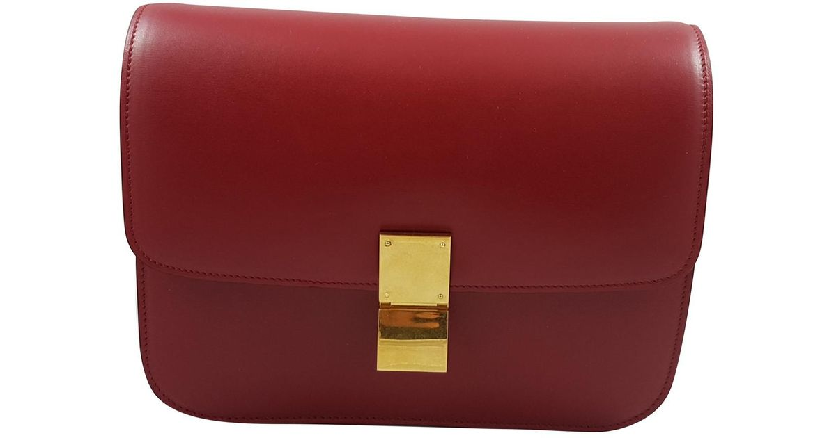 Lyst - Céline Pre-owned Classic Leather Crossbody Bag in Red 18304712f3af5