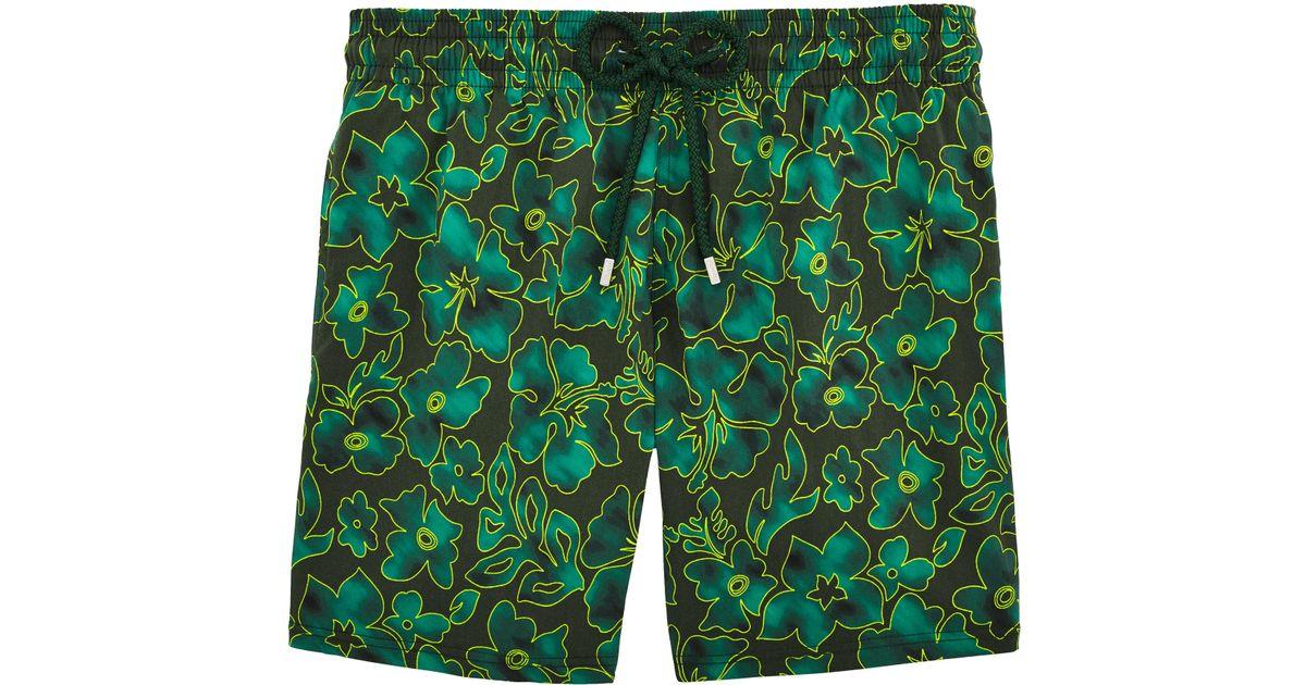 b12882ccc51af Vilebrequin Moorise Flowers Swim Shorts in Green for Men - Lyst