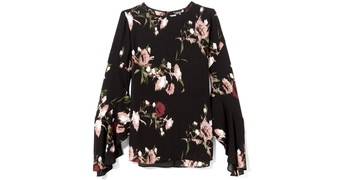 e64eada02 Vince Camuto Floral-print Bell-sleeve Blouse in Black - Lyst