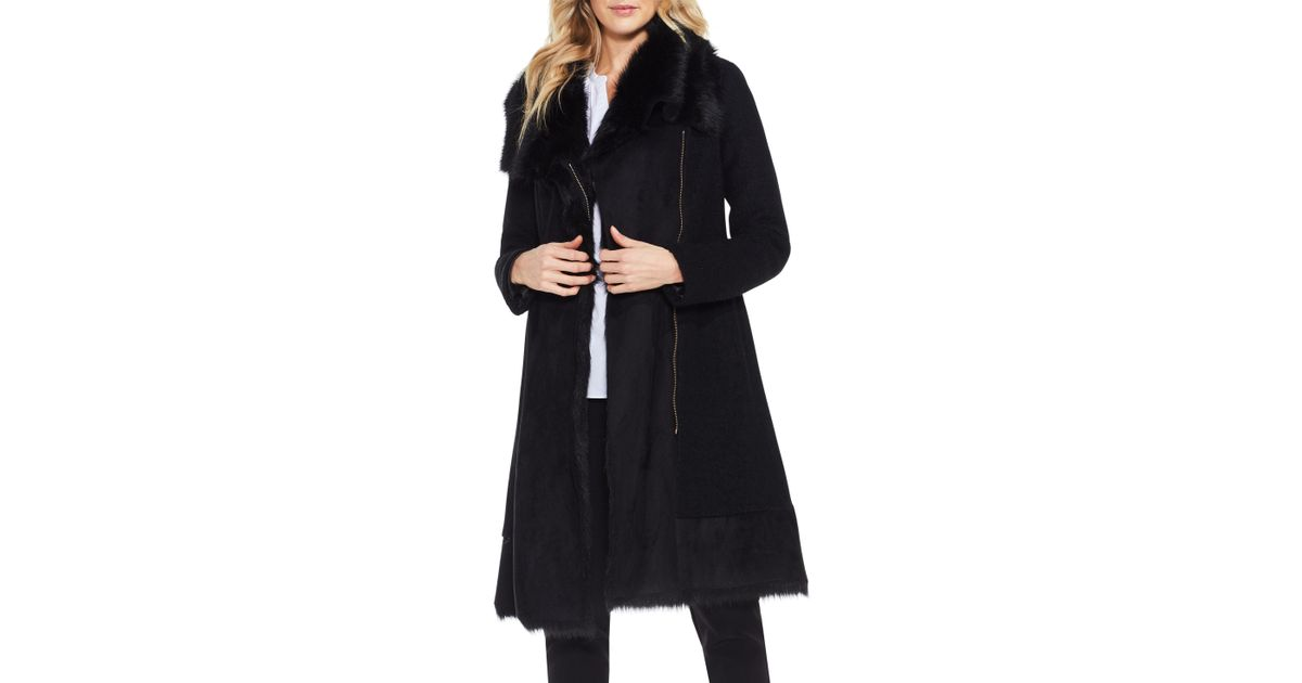 24c4d8269f50d Vince Camuto Faux Fur-paneled Evening Coat in Black - Lyst