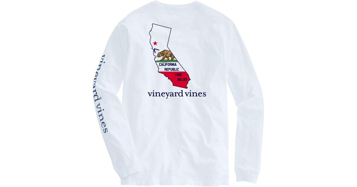 2adf36ec60d0 Lyst - Vineyard Vines Adult Long-sleeve California Fire Relief T-shirt in  White for Men