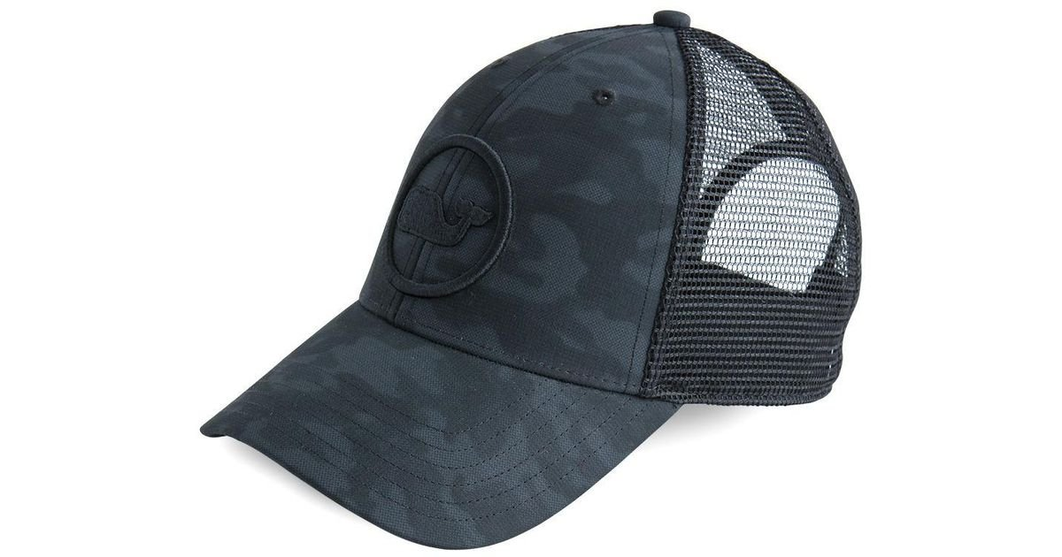 43b5d92a Vineyard Vines Embroidered Whale Dot Performance Camo Trucker Hat in Black  for Men - Lyst