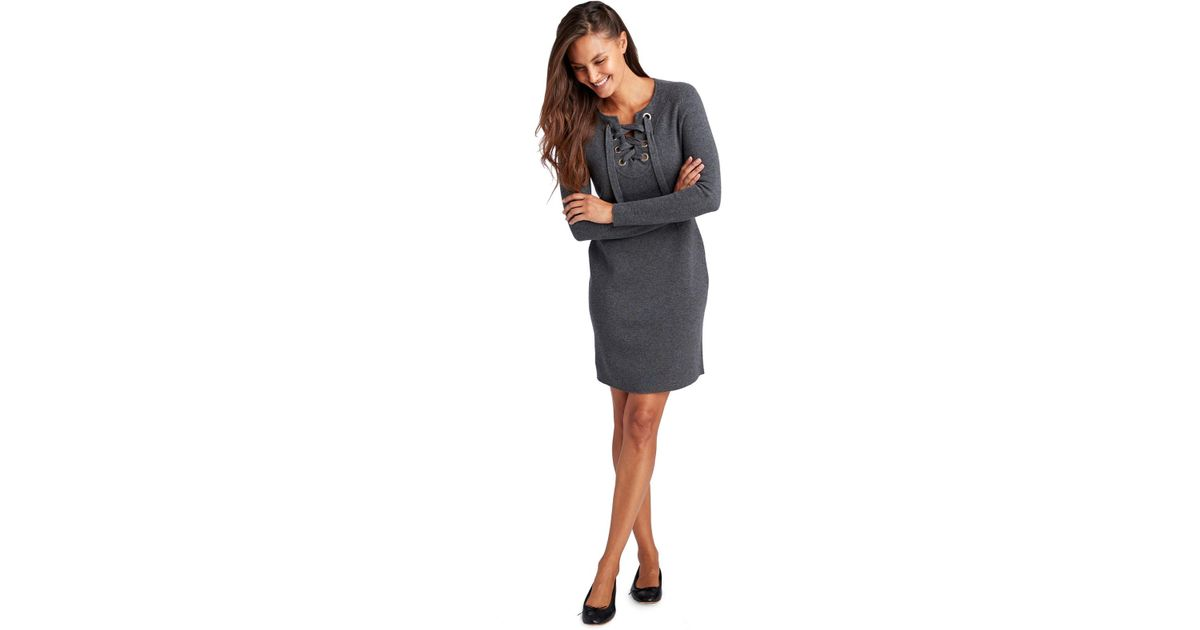 Vineyard Vines Gray Lace Up Sweater Dress Lyst