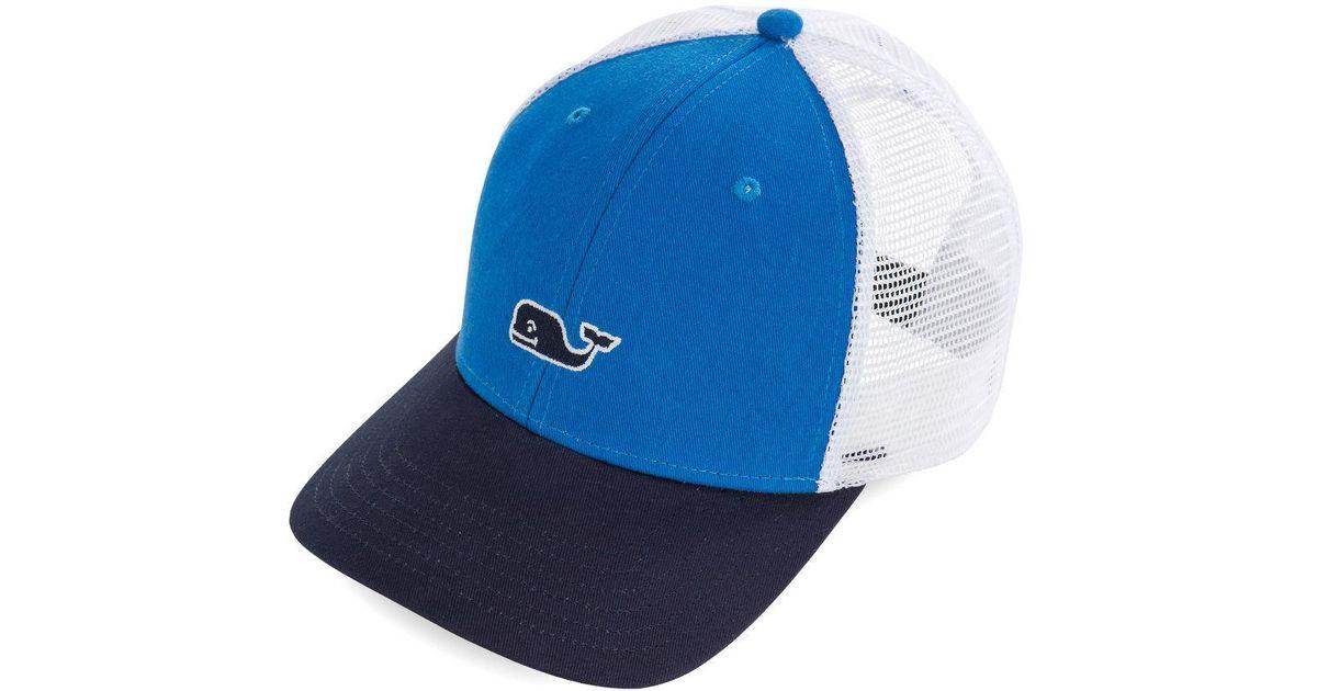 e935bc37c Vineyard Vines - Blue High Profile Whale Logo Trucker Hat for Men - Lyst