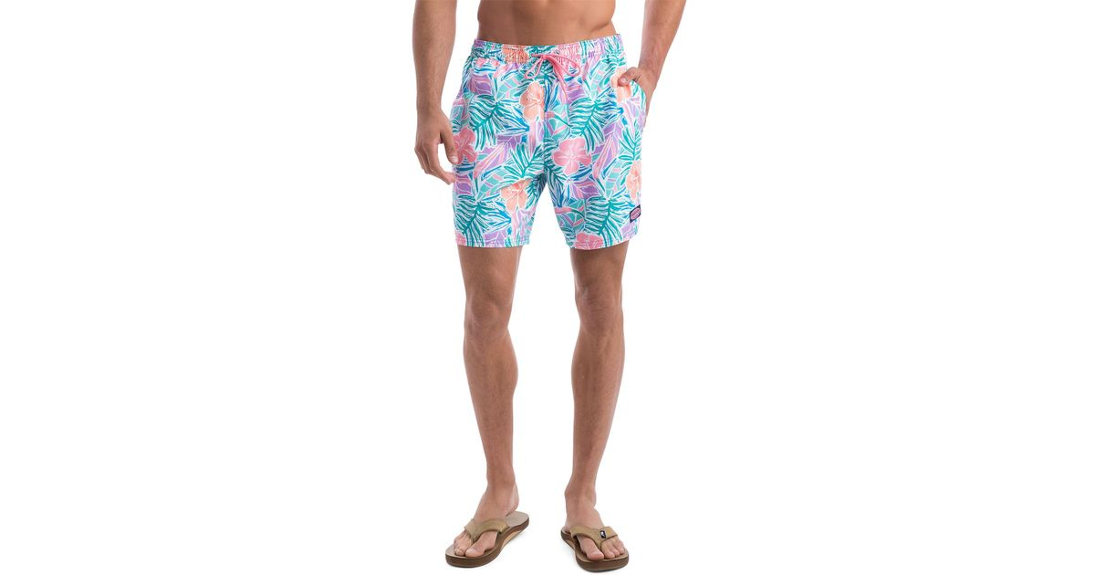 c8e2bbf565cd3 Lyst - Vineyard Vines Gulf Tropical Chappy Trunks in Blue for Men