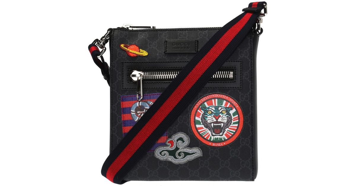 3f1c860699a9f0 Gucci Night Courrier Leather-trimmed Appliquéd Monogrammed Coated-canvas  Messenger Bag in Black for Men - Lyst