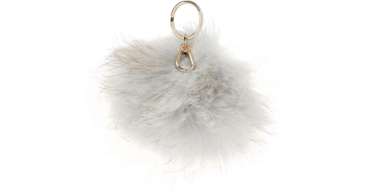 ... Lyst - Furla Polar Fox Fur Key Ring in Gray in stock 3d914 f73cc ... 707b54b22