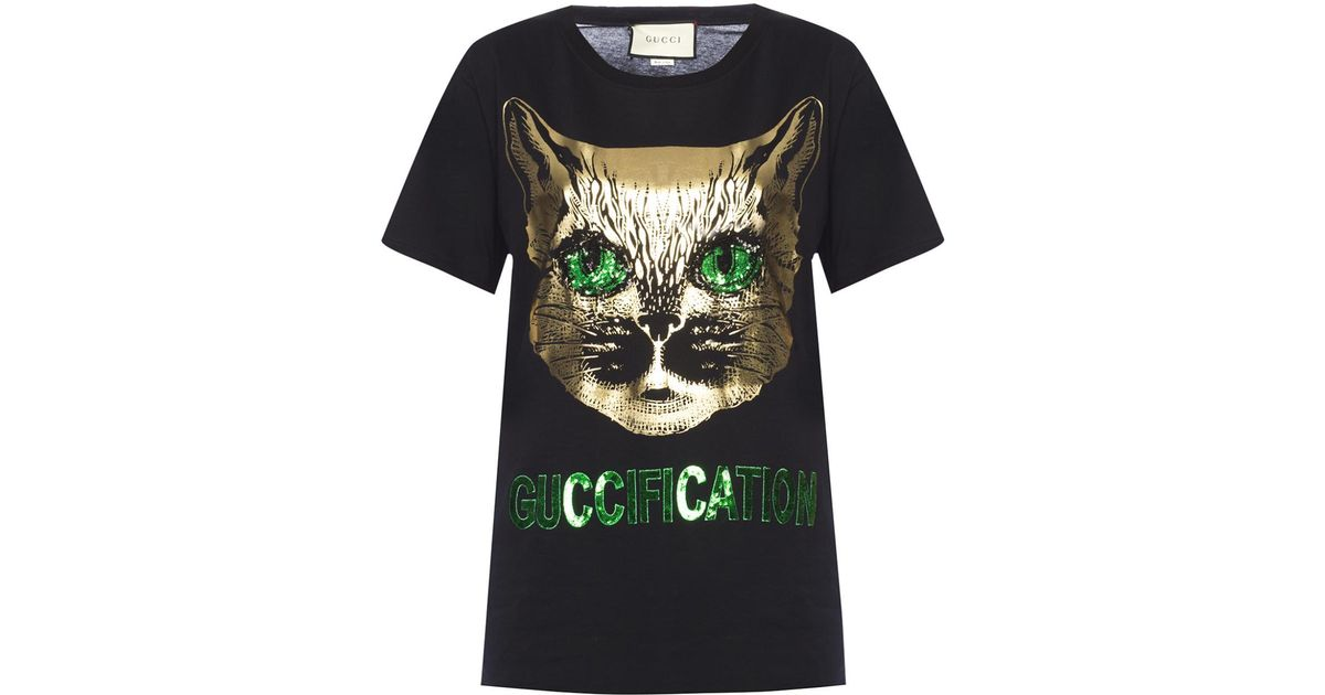 b2788055bd8 Lyst - Gucci  mystic Cat  T-shirt in Green