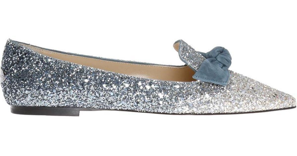 5a8b2b7ee5b Jimmy Choo  gabie  Glitter Ballet Flats in Metallic - Lyst