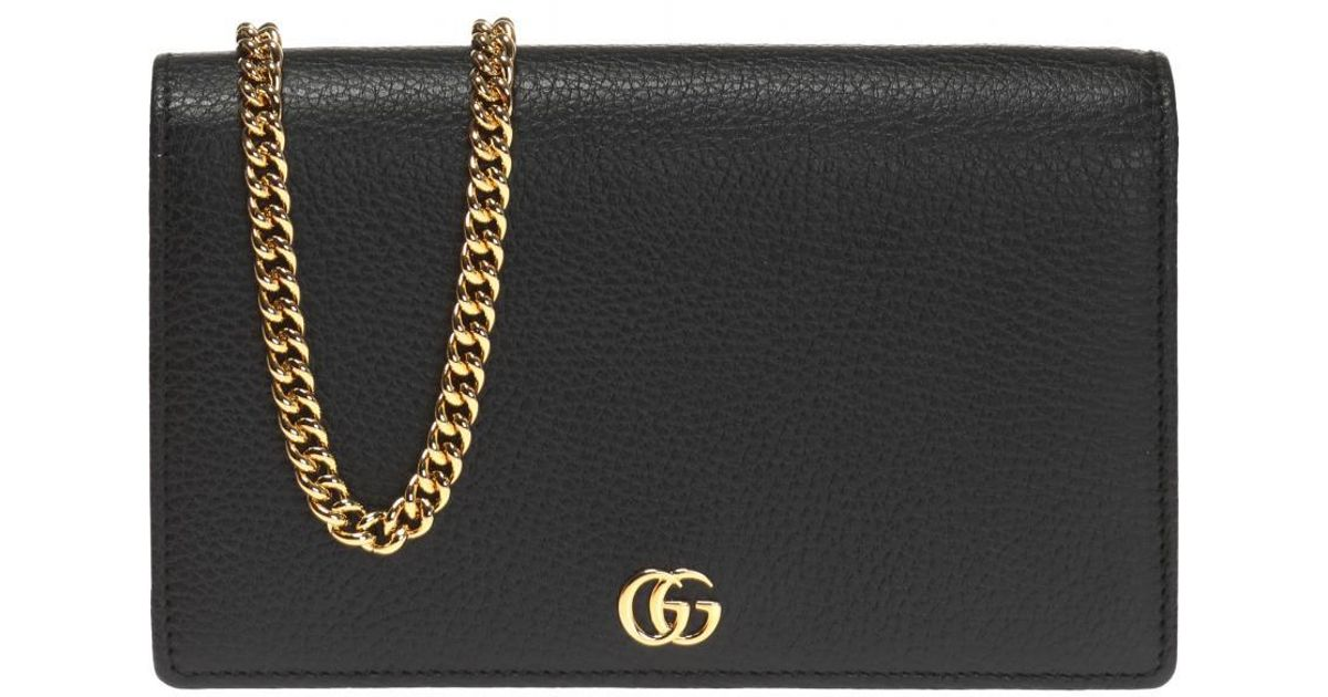 1046a111707 Lyst - Gucci  GG Marmont  Wallet On Chain in Black