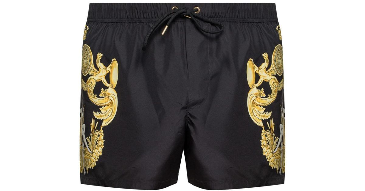 cc945bbcae008 Versace Baroque Motif Swim Shorts in Black for Men - Lyst