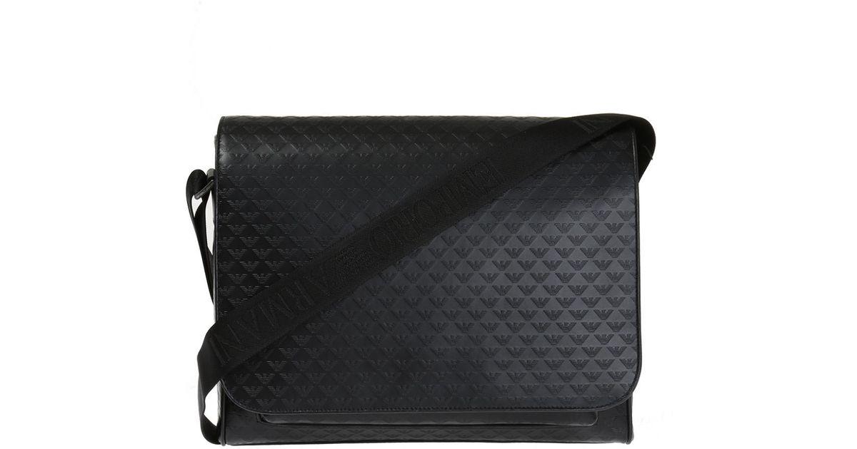 Emporio Armani Logo Shoulder Bag in Black for Men - Lyst 55f7cd1414b68