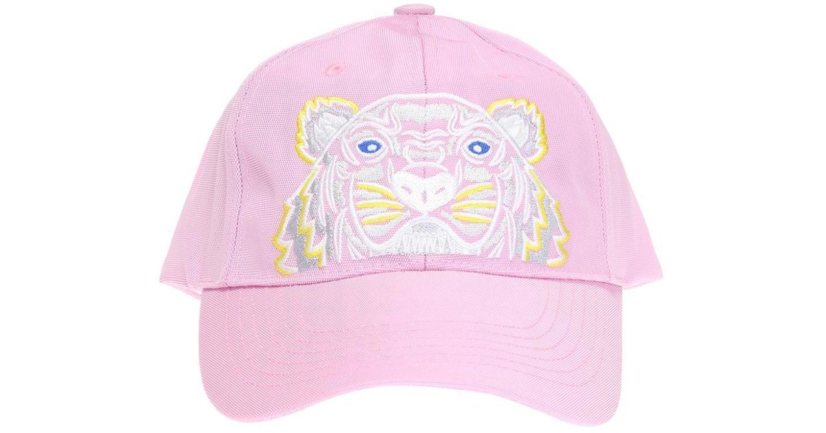 0fdc58855cf Kenzo Embroidered Tiger Head Baseball Cap in Pink - Lyst