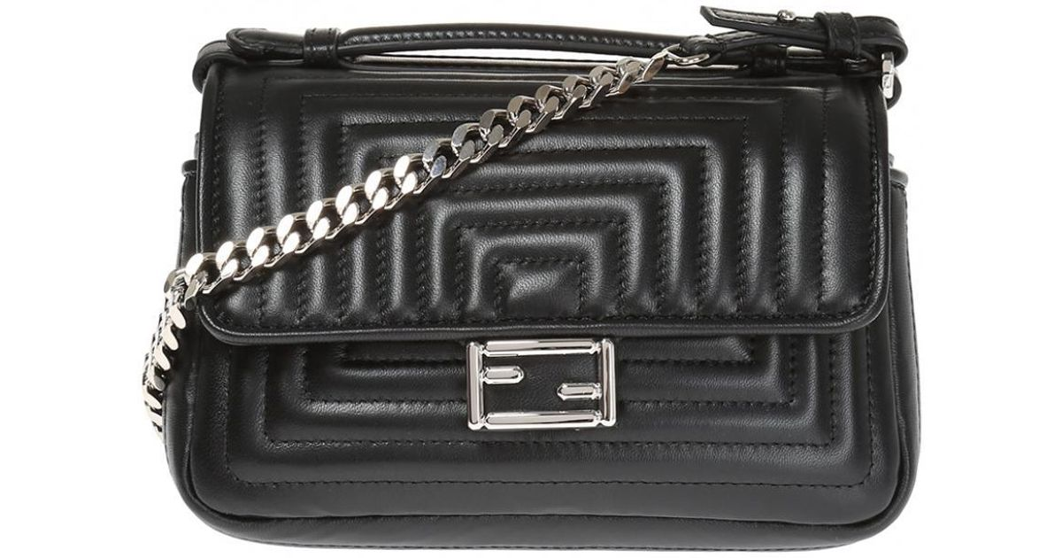 b4c572cdab69 Lyst - Fendi  double Baguette  Quilted Shoulder Bag in Black