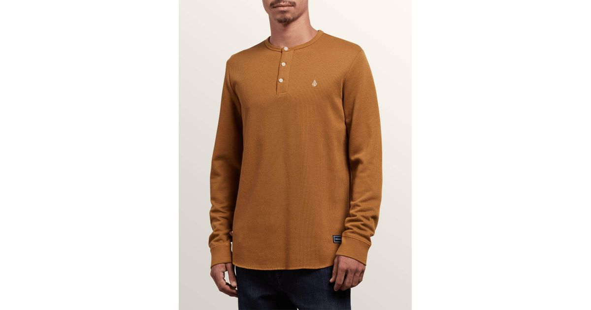 a5dfd89f Lyst - Volcom Layer Stone Long Sleeve Modern Knit Henley Shirt in Brown for  Men - Save 42%