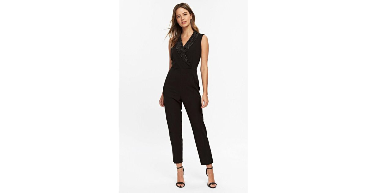 95b3856b5ccc Wallis - Petite Black Diamante Tuxedo Jumpsuit - Lyst